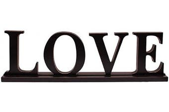 (Love Sign) - Attraction Design Rustic Wood Love Sign for Home Decor, Decorative Wooden Cutout Word Decor Freestanding Love Tabletop Decor, 42cm X 13cm Black Love Block Letters Sign Family Mantel Fireplace Decor