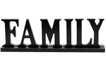 (Black) - Rustic Wood Family Sign for Home Decor, Decorative Wooden Cutout Word Decor Freestanding Family Tabletop Decor, 42cm X 13cm Black Family Block Letters Sign Family Mantel Fireplace Decor