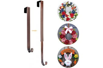 (Bronze) - AnCintre Wreath Hanger, Adjustable Length from 15 to 60cm Wreath Hanger for Front Door Heavy Duty with 9.1kg Upgrade Wreath Hook Holder for Christmas Decorations, Bronze