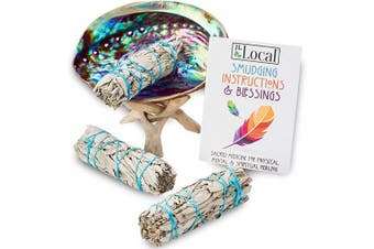 (Standard with Stand) - JL Local 3 White Sage Smudge Kit | White Sage Incense Sticks for Cleansing | Abalone Shell & Instructions Included | Smudging Kit with White Sage Smudge Sticks (Standard with Stand)