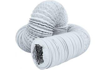 (7.6cm X4.9m) - Hon & Guan 7.6cm Air Duct - 4.9m Long, White Flexible Ducting HVAC Ventilation Air Hose For Grow Tents, Dryer Rooms,Kitchen