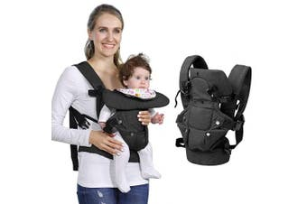 (Black) - Baby Soft Carrier, 4-in-1 Ergonomic Convertible Carrier with Adjustable Straps and Breathable Mesh (Black)