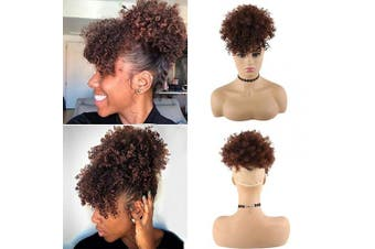 (33#) - CHOOH Afro High Puff Hair Bun Ponytail Drawstring With Bangs Synthetic Short Kinkys Curly Pineapple Pony Tail Clip in on Wrap Updo Hair Extensions for African American Women (33#)