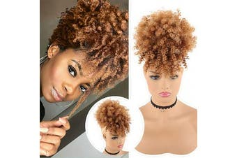 (T4/630) - CHOOH Afro High Puff Hair Bun Ponytail Drawstring With Bangs Synthetic Short Kinkys Curly Pineapple Pony Tail Clip in on Wrap Updo Hair Extensions for African American Women (T4/630)