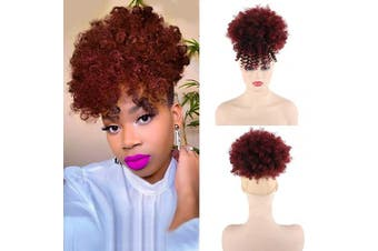 (Bug) - CHOOH Afro High Puff Hair Bun Ponytail Drawstring With Bangs Synthetic Short Kinkys Curly Pineapple Pony Tail Clip in on Wrap Updo Hair Extensions for African American Women (Bug)