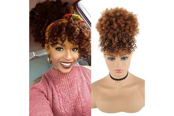(TB-30) - CHOOH Afro High Puff Hair Bun Ponytail Drawstring With Bangs Synthetic Short Kinkys Curly Pineapple Pony Tail Clip in on Wrap Updo Hair Extensions for African American Women (TB-30)
