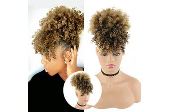 (TB/27) - CHOOH Afro High Puff Hair Bun Ponytail Drawstring With Bangs Synthetic Short Kinkys Curly Pineapple Pony Tail Clip in on Wrap Updo Hair Extensions for African American Women (TB-27)