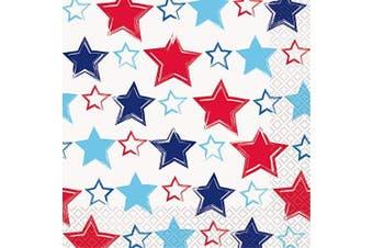 (Paper Napkins) - Unique Party 70682 - American Stars & Stripes Paper Napkins, Pack of 16