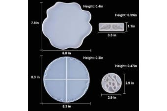 Coasters Resin Moulds, Silicone Moulds for Resin, 4 PCS Flexible Geode Agate Moulds,for Making Cup Mats, Geode Coasters, Home Decoration