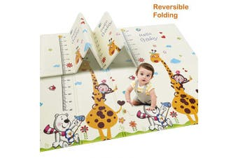 (Giraffe Height & Bear Road Track) - Baby Play Mat, Extra Large Baby Crawling Mat, Portable Waterproof Non Toxic Soft Foam, Anti-Slip Folding Puzzle Mat Playmat for Infants, Toddlers, Kids, Indoor or Outdoor Use, 200cm x 180cm