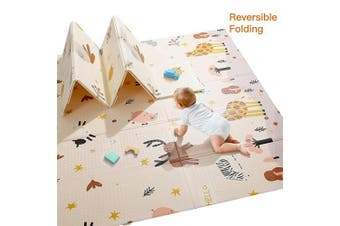 (Giraffe&Rabbit-0.4 in Thickness) - Baby Play Mat, Extra Large Baby Crawling Mat, Portable Waterproof Non Toxic Soft Foam, Anti-Slip Folding Puzzle Mat Playmat for Infants, Toddlers, Kids, Indoor or Outdoor Use, 200cm x 180cm