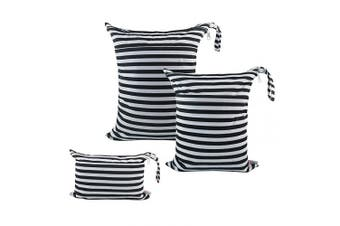 (3 pcs in SML, black and white stripe) - ALVABABY 3pcs Baby Cloth Nappy Wet Dry Bags Waterproof Reusable with Two Pockets Travel Beach Pool Daycare Soiled Baby Items Yoga Gym Bag for Swimsuits or Wet Clothes 3L-WB01