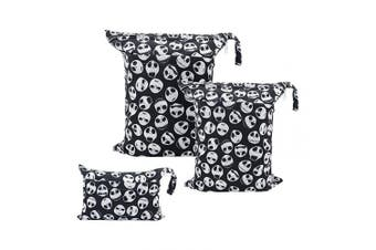 (3 pcs in SML, Sets Skull) - ALVABABY 3pcs Baby Cloth Nappy Wet Dry Bags Waterproof Reusable with Two Zippered Pockets Travel Beach Pool Daycare Soiled Baby Items Yoga Gym Bag for Swimsuits or Wet Clothes 3L-YA132