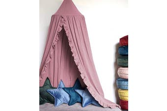 (Dusty Rose) - MOMAID Baby Bed Canopy with Frills Crib Reading Nook Game Tent for Kids Hanging Mosquito Net Nursery Play Room Decor (Dusty Rose)