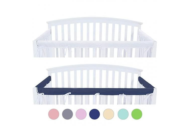 (Narrow, Navy) - 3 - Piece Crib Rail Cover Protector Safe Teething Guard Wrap for Standard Crib Rails, Fit Side and Front Rails, Navy/White, Reversible, Safe and Secure Crib Rail Cover.