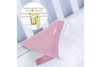 (Narrow, pink) - 3 - Piece Crib Rail Cover Protector Safe Teething Guard Wrap for Standard Crib Rails, Fit Side and Front Rails, Pink/White, Reversible, Safe and Secure Crib Rail Cover.