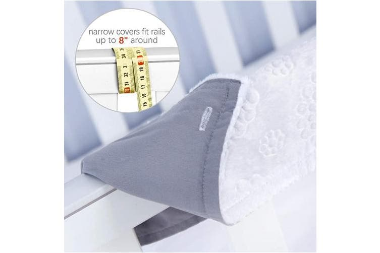 (Narrow, grey) - 3 - Piece Crib Rail Cover Protector Safe Teething Guard Wrap for Standard Crib Rails, Fit Side and Front Rails, Grey/White, Reversible, Safe and Secure Crib Rail Cover.