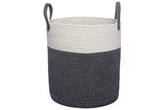 (Tall(36cm  x 41cm ), White/Black) - COMEMORY Woven Cotton Rope Basket, Laundry Blanket Storage Basket with Built-in Sturdy Handles, Decorative Floor Basket for Laundry and Living Room