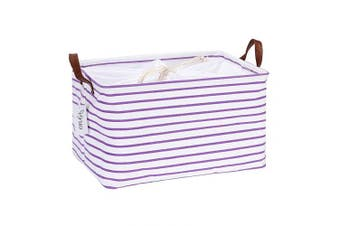 (42cm  / Thickened, Purple Stripe) - Hinwo 31L Large Capacity Storage Basket Canvas Fabric Storage Bin Collapsible Storage Box with PU Leather Handles and Drawstring Closure, 42cm by 30cm , Waterproof Inner Layer, Purple Stripe