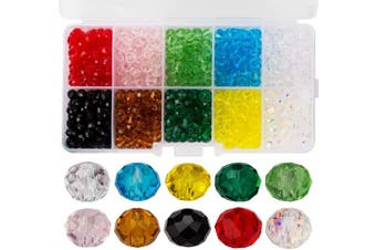 (Multicolor) - AIEX 700pcs Crystal Beads Kit Wholesale Glass Assorted Colours Spacer Beads Faceted Rondelle Shape for Jewellery Making, 6mm
