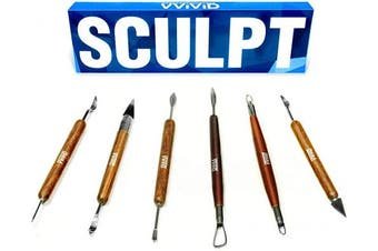 VViViD Sculpt Wooden Handled Double-Ended 6-Piece Pottery & Clay Sculpting Hand Tool Kit
