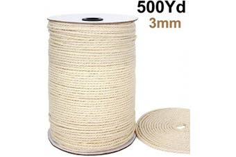 (500 Yards) - Blisstime Macrame Cord 3mm X 500Yards |Natural Cotton Macrame Rope|3 Strand Twisted Cotton Cord | Soft Undyed Cotton Rope for Wall Hangings, Plant Hangers, Crafts, Knitting, Decorative Projects