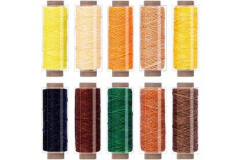 (10Colors b) - BUTUZE 550 Yards Leather Sewing Waxed Thread - 150D 55Yards Per Spool Stitching Thread for Leather Craft DIY, Bookbinding, Shoe Repairing, Leather Sewing