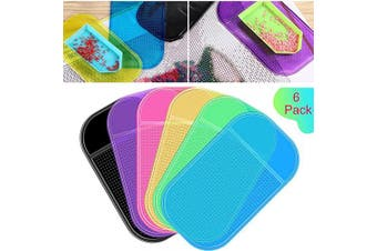 6 Pieces Anti-Slip Tools Sticky Mat for Diamond Painting Sticky Gel Pad Non-Slip Universal Mount Holder 14cm x 8.4cm for Holding Tray 5D Diamond Embroidery Accessories for Kids or Adults