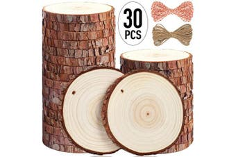(30pcs(8.9cm  - 10cm )) - 5ARTH Natural Wood Slices - 30 Pcs 8.9cm - 10cm Craft Unfinished Wood kit Predrilled with Hole Wooden Circles for Arts Wood Slices Christmas Ornaments DIY Crafts