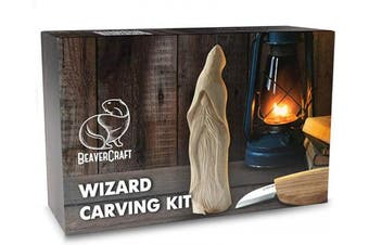 (Whittling Kit DIY03) - BeaverCraft, Beginners Wood Carving Whittling Kit - Hobby DIY Wood Craft Set for Adults and Teens - Whittling Knife Kit with Wood Blocks - Wood Carving Tools Kit - Woodworking Carving Kit DIY03 Wizard