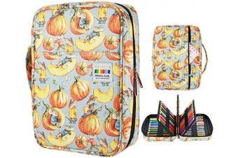(220 01) - YOUSHARES Coloured Pencil Case 220 Slots Pen Case Organiser with Handy Wrap & Zipper, Multilayer Holder for Prismacolor Coloured Pencils & Gel Pen (Pumpkin)