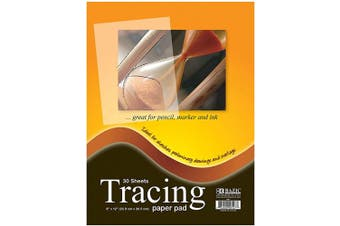 """BAZIC Clear Tracing Paper Pad for Drawing, Tracing, and Sketching (30 Sheets. 9""""x12"""")"""