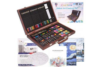 102 Piece Deluxe Art Creativity Set- 2 x 50 Page Sketch Book, 1 x 24 Page Watercolour Pad, Art Supplies in Portable Wooden Case- Oil Pastels, Coloured Pencils, Watercolour Cakes, Sharpener-Deluxe Art Set