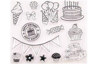 Happy Birthday Ice Cream Cake Balloon Stamp Rubber Clear Stamp/Seal Scrapbook/Photo Album Decorative Card Making Clear Stamps