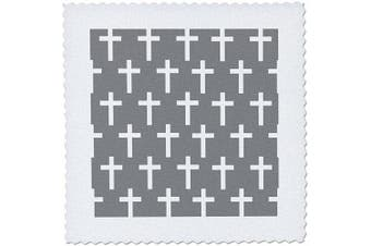 3dRose Charcoal Grey Christian Pattern White Religious Crucifix Crosses-Quilt Square, 15cm by 15cm (qs_185491_2)