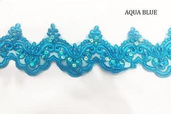 (4.5 Yards, Aqua Blue) - Beaded Lace Trim Sequinned Ribbon Vintage Decorative Wedding/Bridal DIY Craft Sewing Coloured Fabric (Aqua Blue, 4.5 Yards)