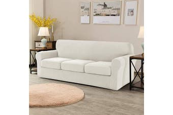 (Large, Ivory White) - CHUN YI Stretch Sofa Slipcover Separate Cushion Couch Cover, Armchair Loveseat Replacement Coat for Ektorp Universal Sleeper, Cheques Spandex Jacquard Fabric (Large,Ivory White)