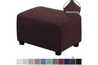 (X-Large, Chocolate) - H.VERSAILTEX Oversized Storage Ottoman Covers Slipcover Furniture Protector Stretch Sofa Shield Ottoman Slipcover for Ottoman Jacquard Universal Ottoman Cover Easy Fitted(Ottoman X-Large, Chocolate)