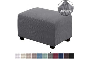 (Large, Gray) - Ottoman Slipcovers Rectangle Grey Footrest Sofa Slipcovers Footstool Protector Covers Stretch Fabric Storage Ottoman Covers, High Spandex Lycra Slipcover Machine Washable, Ottoman Large Size