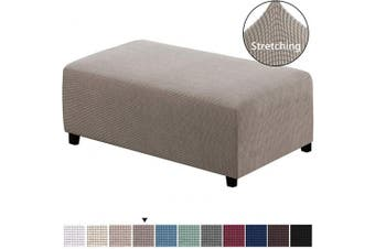 (XX-Large, Taupe) - H.VERSAILTEX Ottoman Slipcovers Rectangle Footrest Footstool Protector Covers Stretch Fabric Storage Ottoman Covers, High Spandex Lycra Slipcover Machine Washable(Ottoman XX-Large, Taupe)