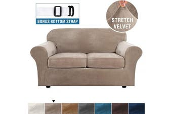 (Taupe) - Real Velvet Plush 3 Piece Stretch Sofa Cover Velvet-Sofa Slipcover Loveseat Cover Furniture Protector Couch Soft Loveseat Slipcover for 2 Cushion Couch with Elastic Bottom(Loveseat,Taupe)