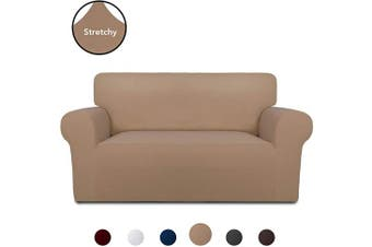 (Camel) - PureFit Super Stretch Chair Sofa Slipcover – Spandex Non Slip Soft Couch Sofa Cover, Washable Furniture Protector with Non Skid Foam and Elastic Bottom for Kids, Pets (Loveseat, Camel)