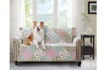 (140cm  Love Seat Cover, Pink+green) - Brilliant Sunshine Pink and Green Rose Patchwork, Reversible Loveseat Protector for Seat Width up to 140cm , Furniture Slipcover, 5.1cm Strap, Couch Slip Cover for Pets, Kids, Dogs, Love Seat, Pink Green