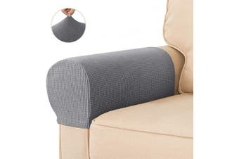 (Light Gray) - CHUN YI Set of 2 Stretch Polyester Sofa Armchair Armrest Covers Slipcovers Furniture Protector Spandex Fabric Jacquard Anti-Stain Washable Couch Arm Cover Slipcover (Armrest, Light Grey)