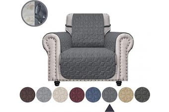 (60cm , Dark Grey) - Ameritex Chair Cover with Anti-Skip Dog Paw Print 100% Water-Resistant Quilted Furniture Protector Slipcover for Dogs, Children, Pets Chair Slipcover for Leather Couch (Dark Grey, 60cm )