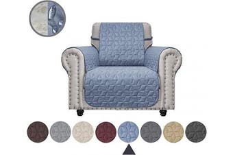 (60cm , Stone Blue) - Ameritex Chair Cover with Anti-Skip Dog Paw Print 100% Water-Resistant Quilted Furniture Protector Slipcover for Dogs, Children, Pets Chair Slipcover for Leather Couch (Stone Blue, 60cm )