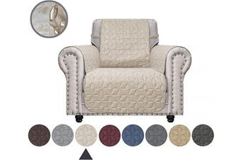 (60cm , Beige) - Ameritex Chair Cover with Anti-Skip Dog Paw Print 100% Water-Resistant Quilted Furniture Protector Slipcover for Dogs, Children, Pets Chair Slipcover for Leather Couch (Beige, 60cm )