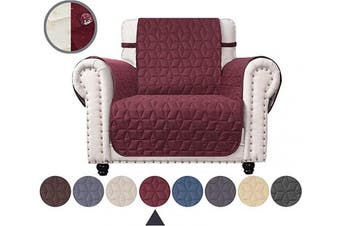 (60cm , Burgundy) - Ameritex Chair Cover with Anti-Skip Dog Paw Print 100% Water-Resistant Quilted Furniture Protector Slipcover for Dogs, Children, Pets Chair Slipcover for Leather Couch (Burgundy, 60cm )