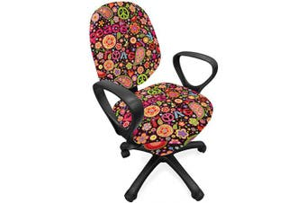 (Standard Size, Magenta Black) - Ambesonne Groovy Office Chair Slipcover, Hippie Colourful Paisley Leaves Music Keys Typography Idealism Historic Revolution, Protective Stretch Decorative Fabric Cover, Standard Size, Magenta Black