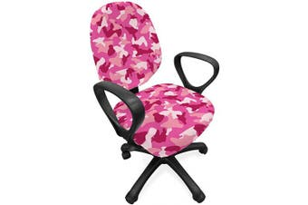 (Standard Size, Pink Blush) - Ambesonne Camo Print Office Chair Slipcover, Repetitive Pattern of Abstract Camouflage Shapes in Spring Tones, Protective Stretch Decorative Fabric Cover, Standard Size, Pink Blush